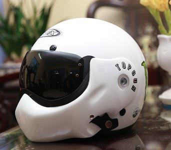 Mũ bảo hiểm có kính Topgun màu trắng